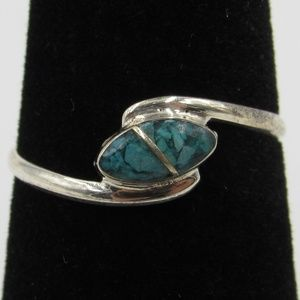 Vintage Size 6.25 Sterling Turquoise Inlay Ring